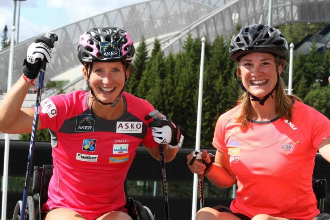 <strong>TRENINGSPARTNERE:</strong> Marit Bjørgen og Birgit Skarstein vil sette ytterligere søkelys på idrettsutøvere med funksjonsnedsettelse. Derfor lanserer de kampanjen #Trenilag. Foto: Geir Owe Fredheim / Norges idrettsforbund