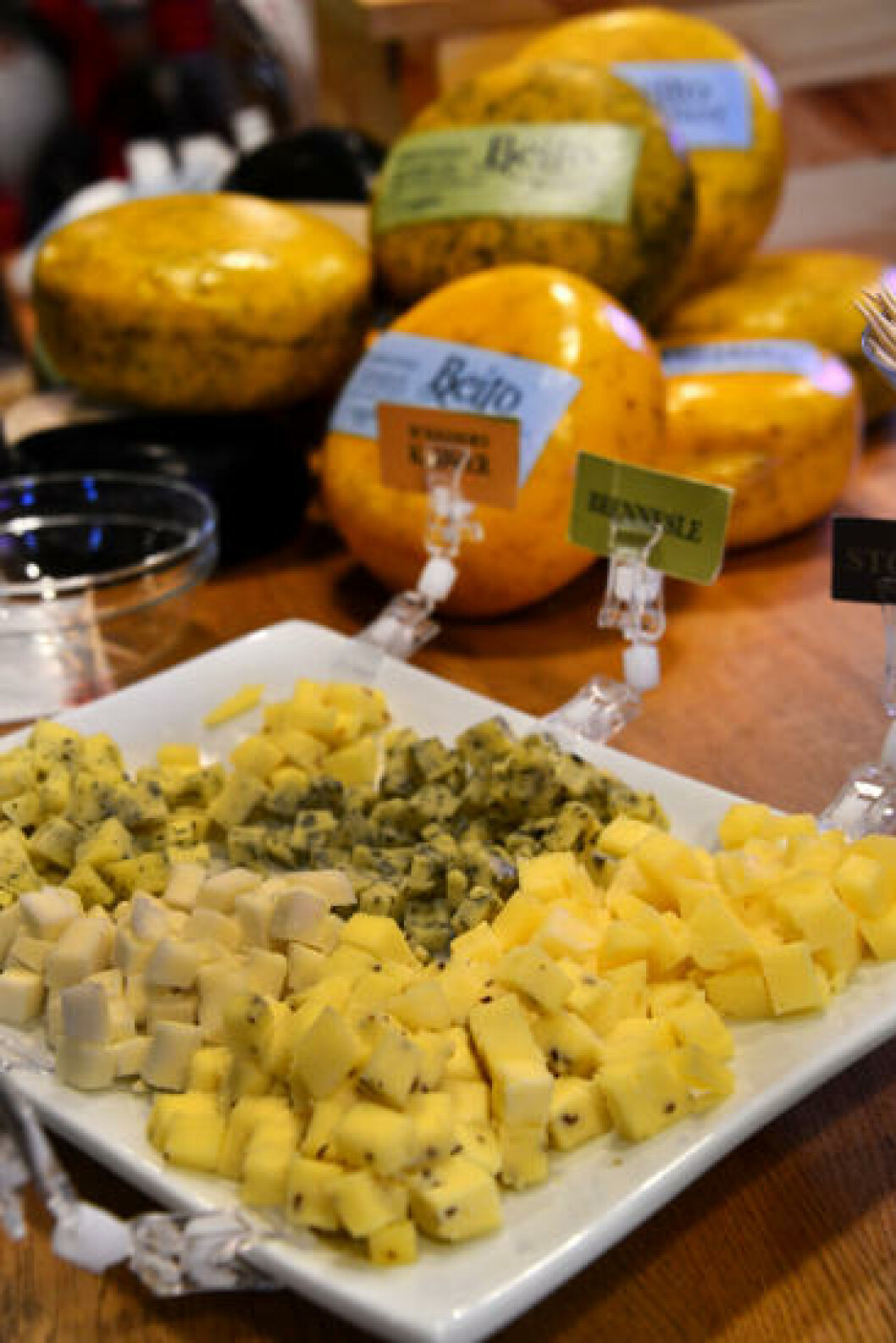 <strong>SMAKSPRØVER:</strong> Ost er ikke ost, så det er selvfølgelig lov å smake for å finne sin favoritt. Her er både brennesleost, chevre og vellagra stølsost. Foto: TORILD MOLAND