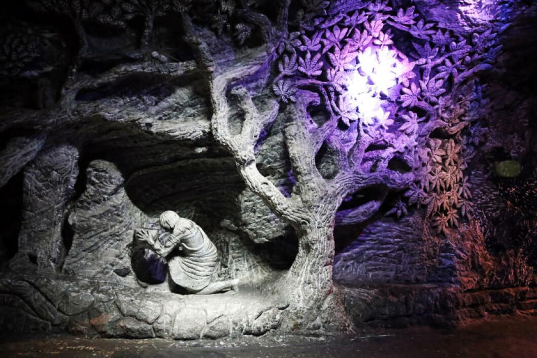 <strong>KUNST:</strong> Dette kunstverket, hogd ut i saltstein, måtte stoppes på grunn av pengemangel før det sto ferdig. Foto: EIVIND PEDERSEN