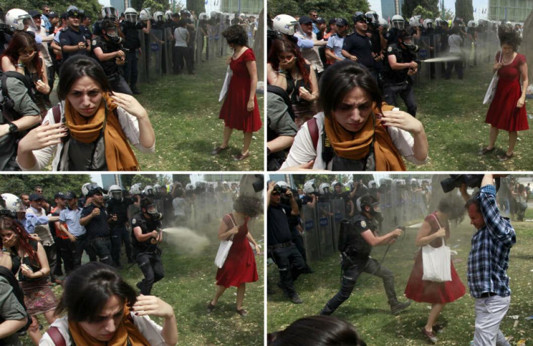 <strong>VERDEN RUNDT:</strong> Bildene gikk verden rundt, og ble symbolet på hvordan demonstrantene ble håndtert av tyrkisk politi. Foto: Osman Orsal / Reuters / NTB Scanpix