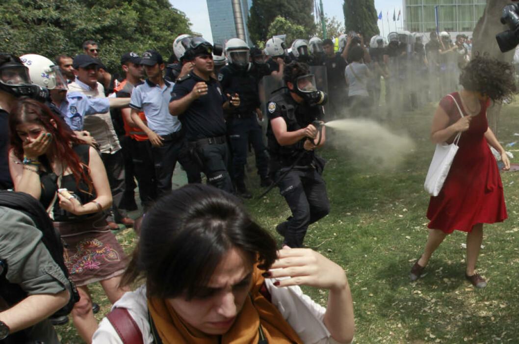 <strong>SNUR SEG:</strong> Sungur snur seg rundt og går vekk, men politimannen fortsetter å dynke henne i tåregass. Foto: Osman Orsal / Reuters / NTB Scanpix