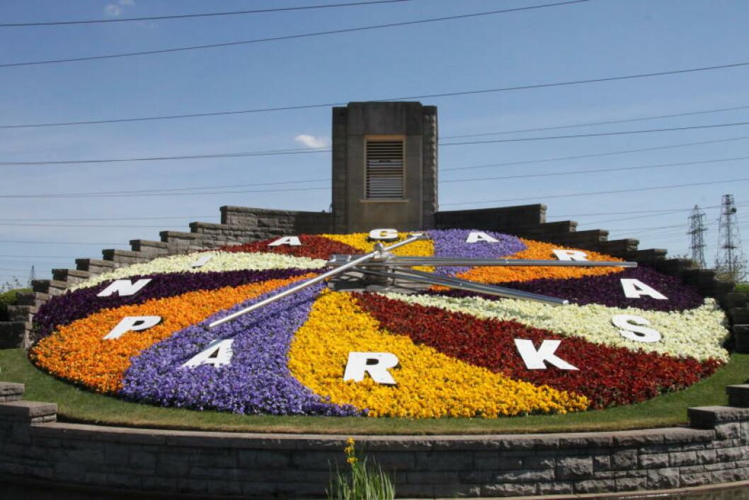 <strong>BLOMSTERKLOKKE:</strong> Den gigantiske klokken er 12 meter i diameter og består av 16 000 blomster og planter. Den er minst like ofte fotografert som selve fossefallene. Foto: SOLVEIG BÅDSVIK