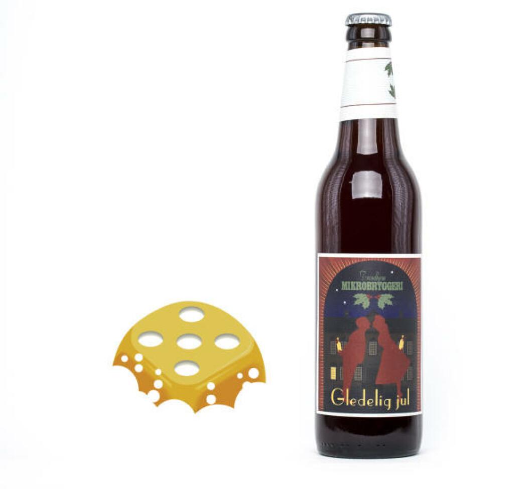 Trondheim Mikrobryggeri Gledelig jul, 0,5 l flaske, 8% . En øl du tar ett glass av, ikke to - gjerne etter middagen.