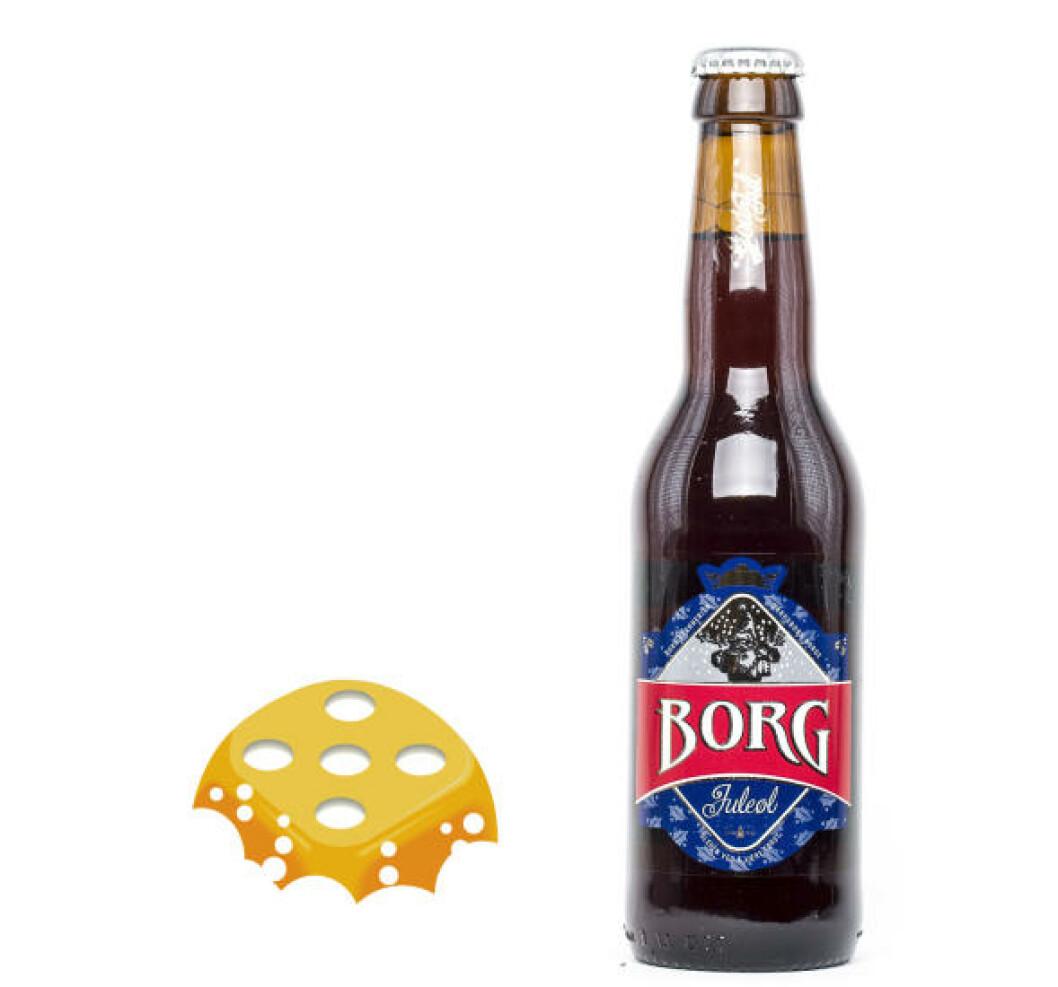 Borg Juleøl, 0,33 l flaske, 6,5%. En av flaskene vi prøvde var dårlig, men resten sto til terningkast fem.