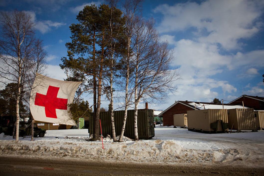 Sanitetsleiren ved sykestua på Bardufoss flystasjon er blitt flittig øvet. Foto: Erik Drabløs/Forsvaret